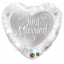 "Just Married Silver Hearts Foil Balloon (18"") 1pc"